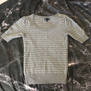 Gray & White Short Sleeve Gap Sweater